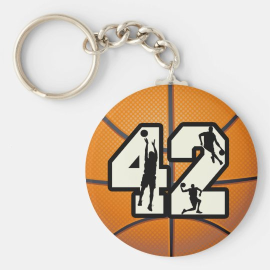 Number 42 Basketball Keychain