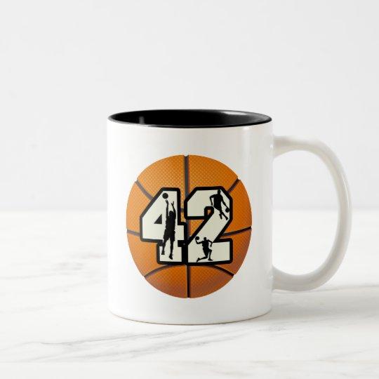 Number 42 Basketball Two-Tone Coffee Mug