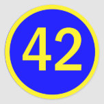 number 42  in a circle classic round sticker