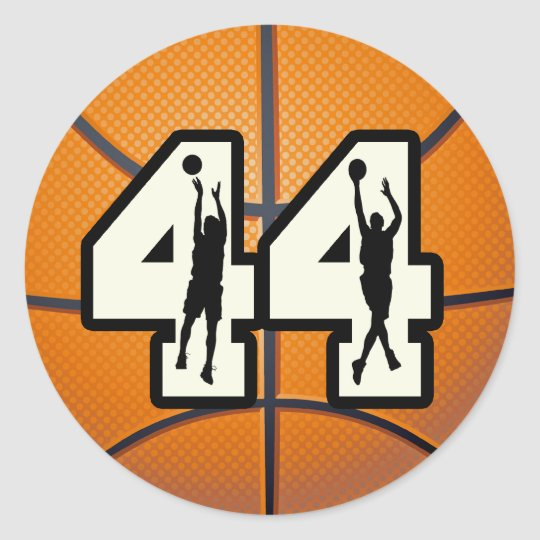 Number 44 Basketball Classic Round Sticker