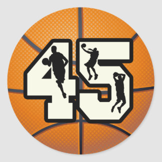Number 45 Basketball Round Stickers