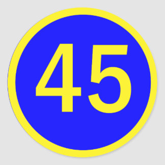 number 45  in a circle round stickers
