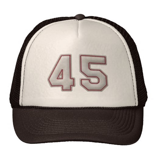 number 45 with cool baseball stitches look trucker hat