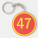 number, 47, in a circle basic round button keychain