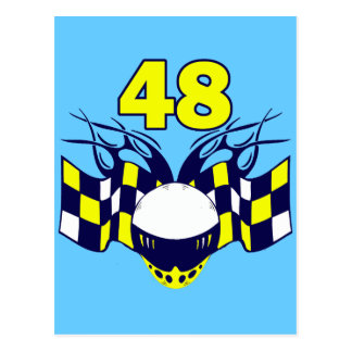 NUMBER 48 AUTO RACING DESIGN POSTCARD