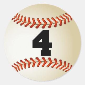 Number 4 Baseball Classic Round Sticker