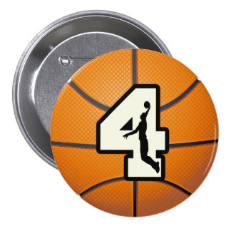 Number 4 Basketball and Player 3 Inch Round Button