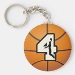 Number 4 Basketball and Player Keychain