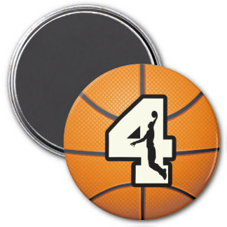 Number 4 Basketball and Player Magnet