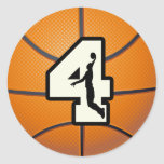 Number 4 Basketball and Player Round Stickers