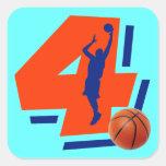 Number 4 Basketball Player Sticker
