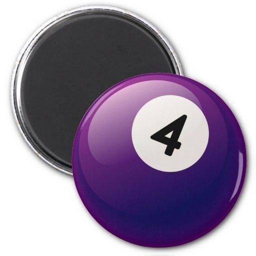 NUMBER 4 BILLIARDS BALL 2 INCH ROUND MAGNET