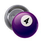 NUMBER 4 BILLIARDS BALL BUTTON