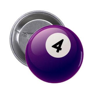 NUMBER 4 BILLIARDS BALL BUTTON
