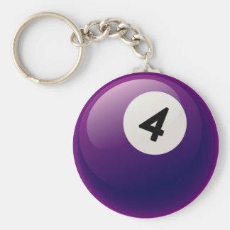 NUMBER 4 BILLIARDS BALL BASIC ROUND BUTTON KEYCHAIN