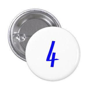 Number 4 four blue color pinback button