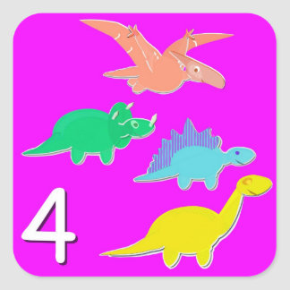 Number 4 Four Dinosaurs Counting Square Sticker