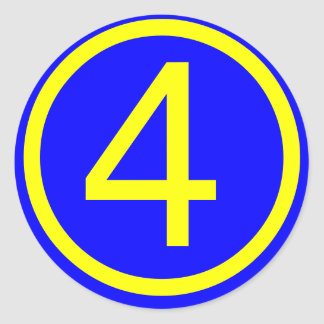 number 4 in a circle, blue background round sticker
