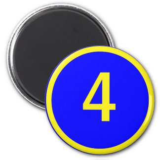 number 4 in a circle magnet