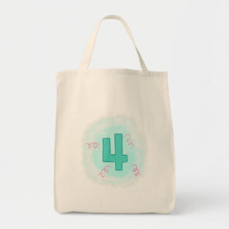 Number 4 in Aqua and Pink Swirls Canvas Totes
