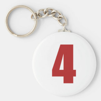 Number 4  in red on white button keychain