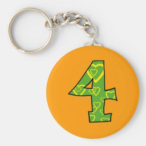 Number 4 keychain