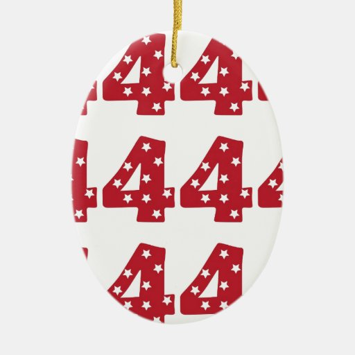 Number 4 - White Stars on Dark Red Christmas Ornament