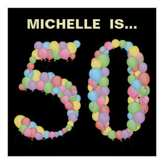 Number 50 50th balloons Birthday Party Decoration Poster