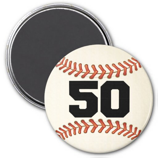 Number 50 Baseball 3 Inch Round Magnet