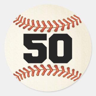 Number 50 Baseball Classic Round Sticker