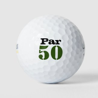 Number 50 par golf course for50th birthday golfer golf balls