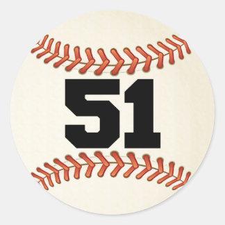 Number 51 Baseball Classic Round Sticker