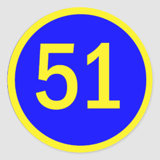 Number 51 In A Circle Round Stickers