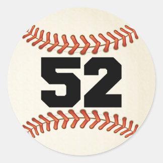 Number 52 Baseball Classic Round Sticker