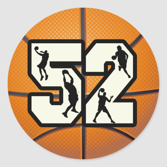 Number 52 Basketball Classic Round Sticker