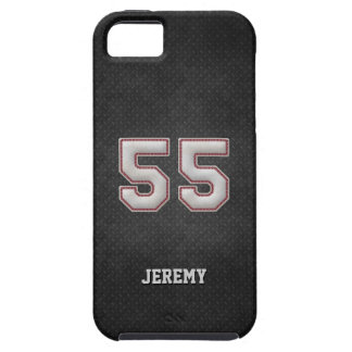 Number 55 Baseball Stitches with Black Metal Look iPhone SE/5/5s Case
