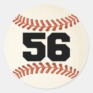 Number 56 Baseball Classic Round Sticker