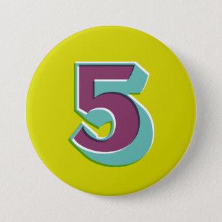 Number 5 Badge Pinback Button