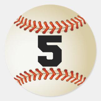 Number 5 Baseball Classic Round Sticker