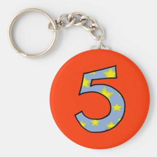 Number 5 basic round button keychain
