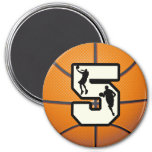 Number 5 Basketball and Player 3 Inch Round Magnet