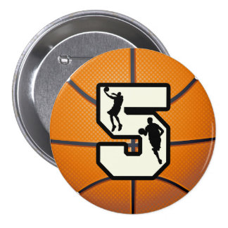 Number 5 Basketball and Player 3 Inch Round Button