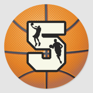 Number 5 Basketball and Player Classic Round Sticker
