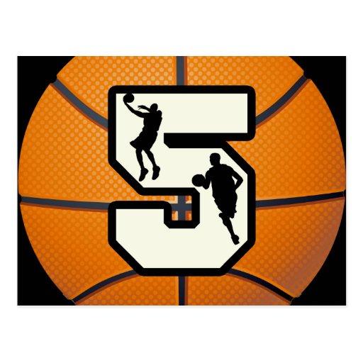 Number 5 Basketball and Players Postcard
