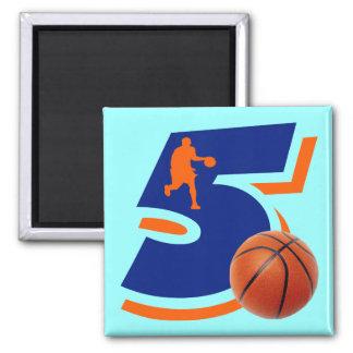 Number 5 Basketball Player Magnet