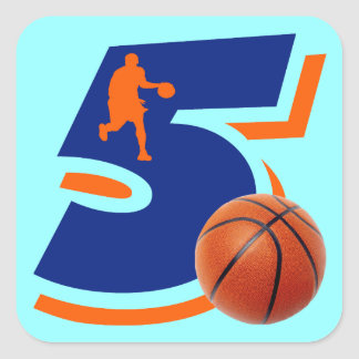 Number 5 Basketball Player Square Sticker