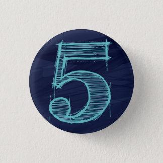 < Number >5 batches (dark blue) Pinback Button