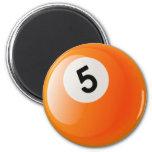 NUMBER 5 BILLIARDS BALL 2 INCH ROUND MAGNET