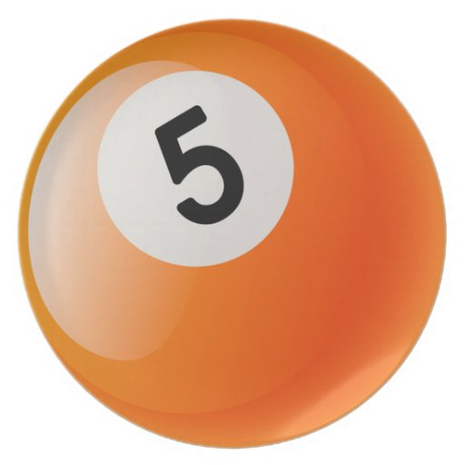 Number 5 Billiards Ball Dinner Plates