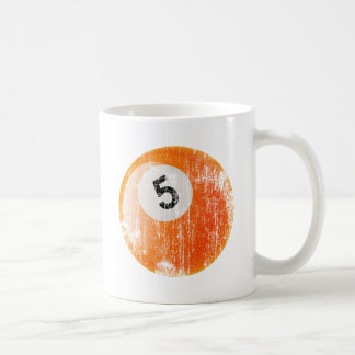 NUMBER 5 BILLIARDS BALL - ERODED AND AGED STYLE COFFEE MUG